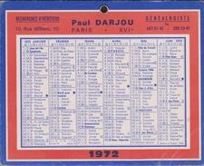 Mini Calendrier 1972 Petit Format Cartonné - Pub Pour Un Généalogiste - Calendars