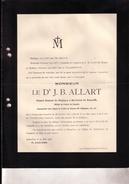 FRASNES-LEZ-GOSSELIES TENERIFFE Jean-Baptiste ALLART 1831-1906 Consul Belgique TENERIFFE Faire-part Diplomate DE BRUYN - Décès