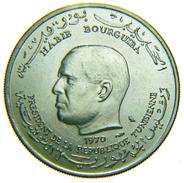 [NC] TUNISIA - BOURGUIBA - 1 DINAR ARGENTO - 1970 FAO - Tunisia