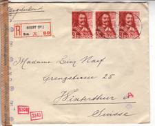 Lettre Recommandée 80 Obl Soest Affr Bande De 3 Du 71/2c De Ruytter . -> Winterthur - Censure / Censored / Zensur D