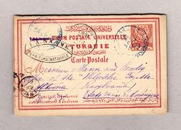 Türkei PERA 10.9.1887 Ganzsache 20paras Nach Altoona USA - Lettres & Documents