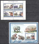 B19 2010 REPUBLIQUE TOGOLAISE FAUNA ANIMALS LES HIPPOPOTAMES 1KB+1BL MNH