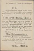 Allemagne 1900. Entier Repiqué. Commerce De Cigares. Billiard, Quilles En Bois, Craie Verte Et Blanche, Dominos, échecs