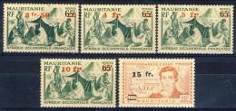 Mauritania 1944 Serie N. 133-137 Nuovi Valori Sovrastampati In  Rosso MNH Catalogo € 5,60 - Unused Stamps
