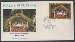 NOEL - CHRISTMAS - WEIHNACHTEN / 1981 WALLIS & FUTUNA ENVELOPPE FDC ILLUSTREE (ref LE1022)