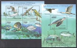 B24 2011 TOGOLAISE FAUNA BIRDS LES ECOSYSTEMES D'AFRIQUE MADAGASCAR KB+BL MNH