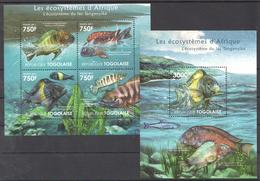 B25 2011 TOGOLAISE FAUNA FISHES LES ECOSYSTEMES D'AFRIQUE TANGANYIKA KB+BL MNH