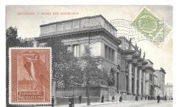 CPA. ....EXPOSITION 1910.  DRAPEAU.. + VIGNETTE  EXPOSITION DE BRUXELLES 1910... TBE...SCAN - Commemorative Labels