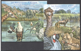 B26 2011 TOGOLAISE FAUNA ANIMALS LES ECOSYSTEMES D'AFRIQUELES ZONES KB+BL MNH