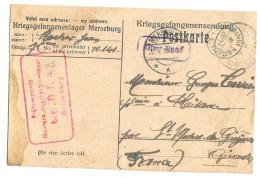 CPA.  PRISONNIER DE GUERRE.  1918..    MERSEBURG..  A ST MEDARD DE GUIZIERE  FRANCE..  BE.  SCAN