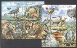 B28 2011 TOGOLAISE FAUNA ANIMALS LES ECOSYSTEMES D'AFRIQUE D'ETHIOPIE KB+BL MNH