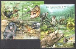 B30 2011 TOGOLAISE FAUNA ANIMALS LES ECOSYSTEMES D'AFRIQUE CONGO KB+BL MNH