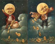 Bonne Année 720 - Monsieur Lune Pièces D'or, Gaufrée - Anno Nuovo