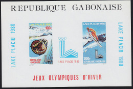 Gabon 1980 Lake Placid Olympics. Imperforate S/S Of 2. Scott C228a, Yvert BF34.