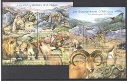 B32 2011 TOGOLAISE FAUNA ANIMALS LES ECOSYSTEMES D'AFRIQUE DE L'ATLAS KB+BL MNH