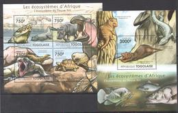 B34 2011 TOGOLAISE FAUNA ANIMALS LES ECOSYSTEMES D'AFRIQUE DU NIL KB+BL MNH