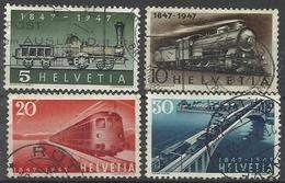 SUISSE N° 441 à 444 Oblitérés - 1947 Train Locomotive