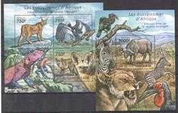 B36 2011 TOGOLAISE FAUNA ANIMALS LES ECOSYSTEMES D'AFRIQUE SERENGETI KB+BL MNH