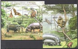 B39 2011 TOGOLAISE FAUNA ANIMALS LES ECOSYSTEMES D'AFRIQUE LA FORET KB+BL MNH