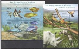 B40 2011 TOGOLAISE FAUNA FISHES LES ECOSYSTEMES D'AFRIQUE VICTORIA KB+BL MNH