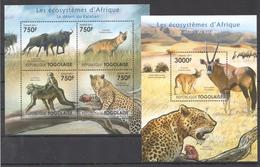 B41 2011 TOGOLAISE FAUNA ANIMALS LES ECOSYSTEMES D'AFRIQUE KALAHARI KB+BL MNH