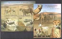 B42 2011 TOGOLAISE FAUNA ANIMALS LES ECOSYSTEMES D'AFRIQUE KALAHARI KB+BL MNH
