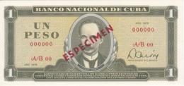 ESPECIMEN BILLETE DE CUBA DE 1 PESO DEL AÑO 1978 DE JOSE MARTI (SPECIMEN) (BANKNOTE) SIN CIRCULAR-UNCIRCULATED - Cuba