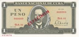 ESPECIMEN BILLETE DE CUBA DE 1 PESO DEL AÑO 1979 DE JOSE MARTI (SPECIMEN) (BANKNOTE) SIN CIRCULAR-UNCIRCULATED - Cuba