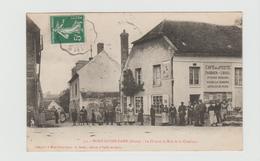 CPA:CAFÉ DE LA POSTE PASQUIER-LOISEL SUR LA PLACE À MONT-NOTRE-DAME (02).. ÉCRITE