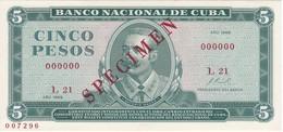 SPECIMEN BILLETE DE CUBA DE 5 PESOS DEL AÑO 1968 DE ANTONIO MACEO (ESPECIMEN) (BANKNOTE) SIN CIRCULAR-UNCIRCULATED - Cuba
