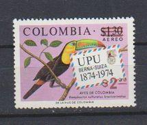 Colombie. Colombia. 1974   Keel-billed Toucan    Ramphastos Sulfuratus . Surcherge. Overprint