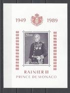 MONACO . YT Bloc 45 Neuf ** 40e Anniversaire Du Règne De S.A.S. Le Prince Rainier III 1989