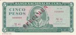 SPECIMEN BILLETE DE CUBA DE 5 PESOS DEL AÑO 1972 DE ANTONIO MACEO (ESPECIMEN) (BANKNOTE) SIN CIRCULAR-UNCIRCULATED - Cuba