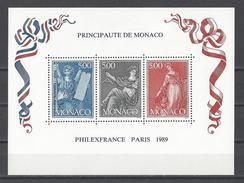 """MONACO . YT Bloc 47 Neuf ** """"Philexfrance 89"""". Exposition Philatélique Mondiale à Paris 1989"""
