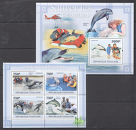 B47 2011 TOGOLAISE FAUNA FISH & MARINE LIFE SAUVER LES DAUPHINS KB+BL MNH