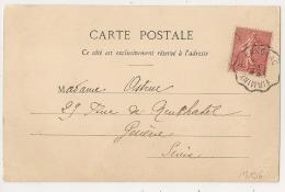 Convoyeur FIRMINY A LANGEAC (Haute Loire) Sur CPA Au Type Semeuse. - Poststempel (Briefe)