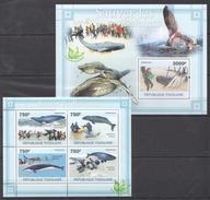 B48 2011 TOGOLAISE FAUNA FISH & MARINE LIFE SAUVER LES BALEINES KB+BL MNH