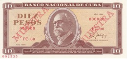 SPECIMEN BILLETE DE CUBA DE 10 PESOS DEL AÑO 1971 DE MAXIMO GOMEZ (ESPECIMEN) (BANKNOTE) SIN CIRCULAR-UNCIRCULATED - Cuba