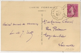 Convoyeur PARIS A ROUEN  Sur CPA De Louviers Eure Au Type Semeuse. 1932 - Poststempel (Briefe)