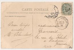 GARE D'AURILLAC Cantal + Convoyeur BRIVE A PERIGUEUX. 1905. - Poststempel (Briefe)