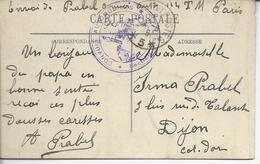 """FM""""convois Automobiles*section 114 T.M."""" &""""trésor Et Postes*5*"""" (Q.G. De La 4°armée) 1916>> Dijon"""