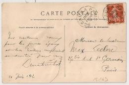 Convoyeur SCEAUX A PARIS Sur CPA . 1912. - Poststempel (Briefe)