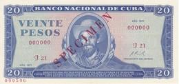 ESPECIMEN BILLETE DE CUBA DE 20 PESOS DEL AÑO 1971 DE CAMILO CIENFUEGOS (SPECIMEN) (BANKNOTE) SIN CIRCULAR-UNCIRCULATED - Cuba