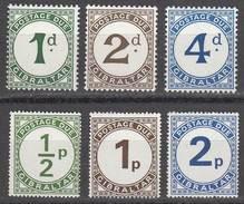 Gibraltar 1956,1974 Postage Due, Full Sets, Mint No Hinge, Sc# J1-J3, J4-J6, SG D1-D6
