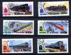 COREE DU NORD 1989, TRAINS, LOCOMOTIVES, 6 Valeurs, Oblitérés / Used. R435 - Trains