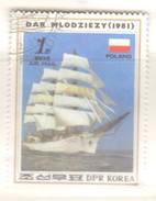 "N.Korea. 1987 ""Dar Mlodziezy"" (Polish Cadet Full-rigged Ship) (vert)- Fu"