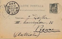 Entier Postal Type Sage 10c Const.Stamboul Turquie Pour L'autriche - France