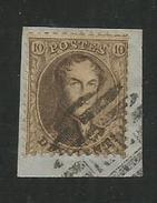 1863 - COB N° 14A - Dent. 12 1/2 X 13 1/2 - Oblitéré Sur Fragment BRUXELLES MIDI 8 Barres - Voir Description