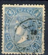Spagna 1865 N. 73a C. 4 Azzurro. Profilo A Sinistra Della Regina Isabella II Fil. 2 Usato - Spagna
