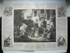 GRAVURE 1865. JOUR D'AUDIENCE TRIBUNAL VILLAGE HAUTE-BAVIERE. JUIFS DE LIVONIE. RIGA, EGLISE DOME. PAYSANS LIVONIE - Prints & Engravings